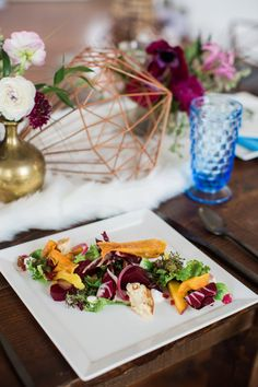 Tablescape. This beautiful salad from Mosaic Catering in Charleston, SC, with rentals from Polished! and Ooh! Events.  taylorraephotography.com
