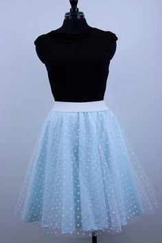 Circle tulle skirt made from cotton poplin fabric and soft polka dot tulle with elastic waistband and fully lined. Ideal as part of your outfit for any occasion or celebration over the year and due to a mint colour it is mainly ideal for summer events as well as part of wedding outfit. Colour: mint fabric with white polka dot tulle  *** SIZE  Length: a) 55 cm / 22 inches b) 60 cm / 24 inches  Available in the following waist sizes (please choose your size):  Size--------Waist..........