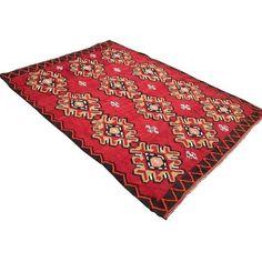 "Vintage Turkish Kilim Rug - 6'11"" x 9'5"" (€845) ❤ liked on Polyvore featuring home, rugs, anatolian kilim rug, hand woven wool rugs, handmade rugs, wool kilim rugs and hand made wool rugs"