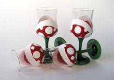 Piranha Plant Short Champagne GlassesSet of 4 by BasementInvaders