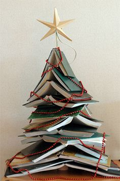 "DIY Christmas Trees | Cool Christmas Trees You Can Make | Xmas Trees - #PinTheSeason - My Dad passed away in July and cleaning out my parent's home is a daunting task - this would be a great idea for some of my parent's books that I just ""can't"" seem to part with...#PinTheSeason"