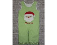 Christmas Santa Claus Jon Jon, Longall, Baby Bubble Romper, or Dress, Monogrammed, Many Colors, Many Sizes, Made-to-Order Custom Outfit