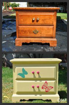 antes y después de decorar un mueble con vinilo