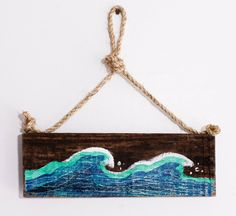 Wave Beach Sign with Ocean Wave Design on Reclaimed by MangoSeed, $30.00