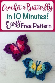 Crochet Flowers Pattern Crochet Butterfly Pattern - Easy and fast crochet butterfly pattern. Great as a magnet or to embellish something special. Marque-pages Au Crochet, Crochet Mignon, Fast Crochet, Crochet Simple, Crochet Amigurumi, Crochet Motifs, Cute Crochet, Crochet Crafts, Crochet Stitches