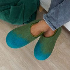Wooppers felted slippers AMIGOS collection turquoise olive green lime by Wooppers woolen slippers #winter #woolen #clogs