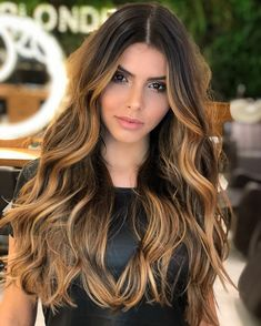 Honey balayage is a golden mean between highlights in blonde and brown. That's why it looks great on almost any base hair color. Brown Ombre Hair, Ombre Hair Color, Cabelo Ombre Hair, Curly Hair Styles, Natural Hair Styles, Short Wavy Hair, Super Hair, Hair Highlights, Honey Highlights