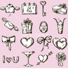Valentines day icons design elements vector - by kamenuka on VectorStock®