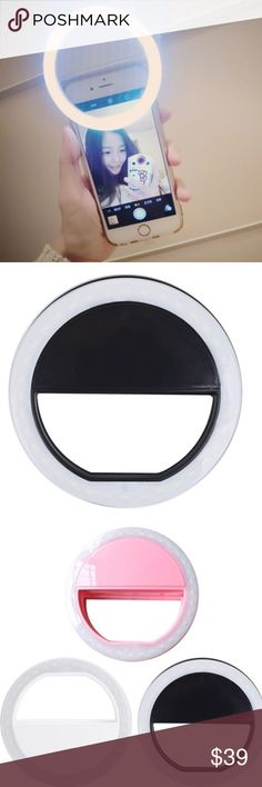 NEW Selfie Portable LED Ring Camera Photography NEW in Packaging LED Light Ring for the most Glamorous Selfies 💁🏼. This light has 3 brightness settings and easily clips to the top of your phone. It takes 2 AA batteries and has simple push button controls. This is the white ring over a black background pictured. Step up your Instagram Game😉 #'s phone, accessories, tech, light, selfie, pic, photo, cute, sale, sell 🛍 priced to sell ❤️🐱Kitty Accessories Phone Cases