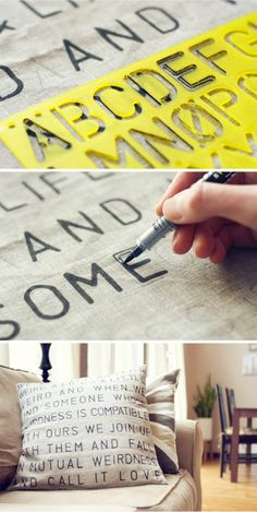 Almofadas personalizadas usando stencil – Caseirices Kids