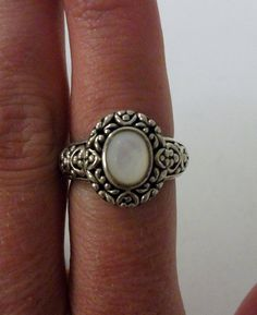 Sterling Silver and Mother of Pearl Ring 5 Grams by onetime, $6.25