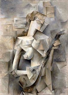 Pablo Picasso, Djevojka s mandolinom, ulje na platnu, x cm, Museum of Modern Art New York Pablo Picasso, Picasso And Braque, Cubist Paintings, Cubism Art, Museum Of Modern Art, Art Museum, Cubist Sculpture, Cubist Movement, Mandoline