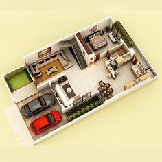 2bhk House Plan, House Layout Plans, Duplex House Plans, Modern House Plans, Small House Plans, House Layouts, 2 Storey House Design, Sims House Design, Duplex House Design