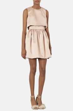 Topshop 'Duchess' Crop Overlay Satin Skater Dress on shopstyle.com