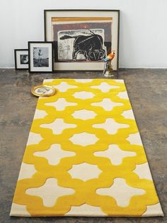 bright yellow rug. attempting to paint this pattern onto an Ikea rug i purchased!