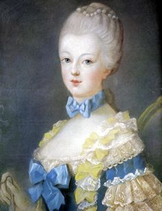 A portrait of Marie Antoinette (1755-1793), by Joseph Ducreux (circa 1769) ~ she was 14 years old at the time of this sitting.