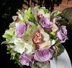 Upclose purple, white and green bouquet | by Designs by Courtney