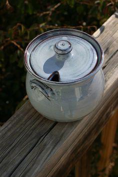 Pottery Sugar Bowl in Light Blue Glaze NC by Beaverspottery, $20.00