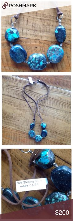 """🍃💕NWT SouthSun Sterling/Turquoise Statement Bib NWT Gorgeous & One of A Kind!!! Make a statement with this fabulous bib necklace featuring authentic chunky turquoise stones, sterling silver beads, strung on suede leather strands. Measures 26"""" end to end. Absolutely stunning!  Proudly made in the USA. Love it💕No trades ever South Sun Jewelry Necklaces"""