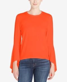 Catherine Catherine Malandrino Carter Bell-Sleeve Top - Orange XL