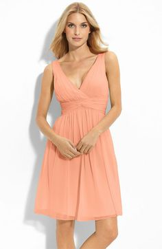 Perfect? Also a good range of sizes!    Donna Morgan Twist Silk Chiffon Dress - Peach Fuzz