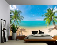 Picture Sensations Canvas Texture Wall Mural, Seascape Palm Beach Summer Tropical Tree, Self-Adhesive Vinyl Wallpaper, Peel & Stick Fabric Wall Decal - Beach Wall Murals, Large Wall Murals, Removable Wall Murals, Wall Stickers Murals, Wall Decals, 3d Wall Murals, Vinyl Wallpaper, Floor Wallpaper, Self Adhesive Wallpaper