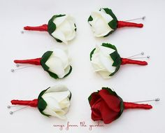 Red White Real Touch Rose Boutonniere Buttonhole Groom Groomsmen Wedding Flower Package - Customize Your Wedding Colors