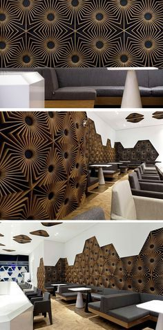 This bar in Bulgaria, designed by Studio Mode, features walls of 3D eye-catching geometric patterns.