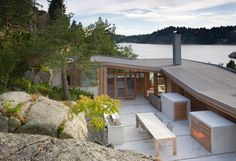 Lund Hagem , based out of Norway have a fantastic site, and collection of baches. Cabin Ameln, a providing sheltered BBQ retreat, and view. Architecture Details, Interior Architecture, Scandinavian Architecture, Casa Patio, Cabins And Cottages, Lund, Residential Architecture, Villa, House Design