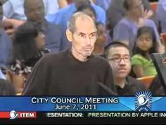 STEVE JOBS in last public appearance!: presenting new Mothership Campus II plans to Cupertino City Council 2011 June 7