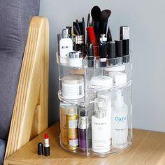 360 fokos PMMA Rotating Smink Szervező a születésnapi ajándékokért - Extra Nagy Kapacitású Állítható Többfunkciós Kozmetikai Tárolás The Cure