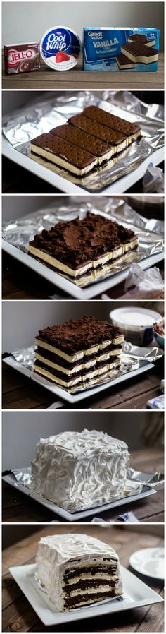 Easy Chocolate Vanilla Ice Cream Cake (with ice cream sandwiches) selber machen ice cream cream cream cake cream design cream desserts cream recipes Frozen Desserts, Easy Desserts, Delicious Desserts, Yummy Food, Vanilla Desserts, Frozen Treats, Vanilla Cake, Yummy Treats, Sweet Treats