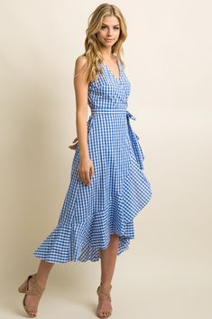 A sleeveless, gingham print midi dress with a cute ruffle trim, a v-neckline, and a hi-low hemline. Also features a wrap around inner tie style with a front closure. Casual Summer Outfits, Trendy Outfits, Summer Dresses, Blue Gingham, Gingham Dress, Wrap Around Dress, Wrap Dress, Tie Styles, Ruffle Trim