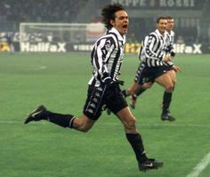 Pippo Inzaghi celebrates scoring for Juventus.