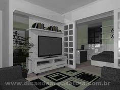 Sala com possibilidade de integração com o quarto. http://dicasdearquitetura.com.br/apartamento-compacto-salas/