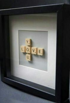 So smart and creative! A DIY scrabble picture! Make a word like love and pretend your playing scrabble! Then glue them to paper and to finish it off frame it! Scrabble Letters, Scrabble Tiles, Scrabble Crafts, Framed Letters, Canvas Letters, Canvas Art, Canvas Crafts, Diy Canvas, Boyfriend Gifts