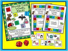 FREEBIE!! A short vowel review with rhyming thrown in!  This fun game is just a small part of:  The Ultimate Vowel Pack! Grab the FREEBIE but check out the rest of the unit if you are interested at my TPT store! Abc Phonics, Phonics Words, Phonics Activities, Reading Activities, Teaching Reading, Reading Games, First Grade Freebies, Teacher Freebies, Free Spelling Games