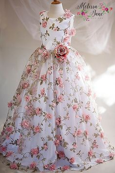 Beautiful Floral Pattern Fabric with super cute 3D flowers she will feel so special in this dressDress is made with high…
