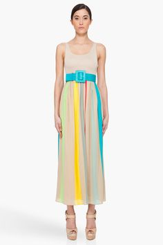 Alice And Olivia Wade Striped Skirt Maxi Dress