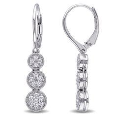 Miadora Sterling Silver 1/4ct TDW Diamond Cluster Dangle Earrings
