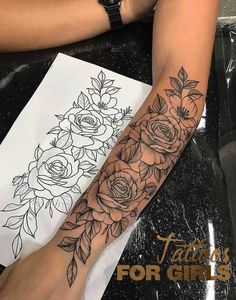 Dope Tattoos For Women, Arm Tattoos For Women Forearm, Shoulder Tattoos For Women, Tattoos For Guys, Rose Tattoo Forearm, Tattoo In Arm, Tattoos For Arm, Female Side Tattoos, Arm Tattoo Ideas