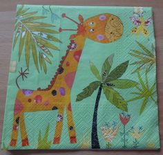 decoupage parer napkins/ paper craft/ scrapbooking/ Birthday party napkins/ Kids party napkins/ Napkins for decoupage/ Giraffe napkin by GracesLaces on Etsy