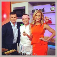 David Campbell, Shaun Presland and Sonia Kruger behind the scenes of Channel Mornings show Morning Show, Mornings, Behind The Scenes, Peplum Dress, Channel, David, Dresses, Fashion, Vestidos