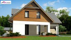 Gotowy projekt domu - Współczesny dom jednorodzinny z garażem jednostanowiskowym Open Plan, Ground Floor, Home Builders, Sliding Doors, Entrance, Shed, Floor Plans, Outdoor Structures, Building