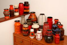 west german pottery - i have fallen in love so much with this pottery - many times importing them from germany to the US - that I have changed my whole living room to the coloring of the deep reds and oranges!