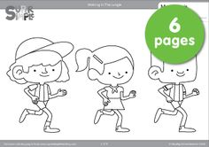 """Free downloadable """"Walking In The Jungle"""" coloring pages. Six pages from the popular video by Super Simple Songs."""