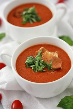 Creamy Tomato Basil Soup from www.onelovelylife.com