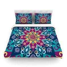 "Amanda Lane ""Blooming Mandala"" Blue Purple Cotton Duvet Cover - KESS InHouse  - 1"