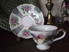 Japan Demitasse Tea Cup and Saucer Set Blue Luster Pink Roses