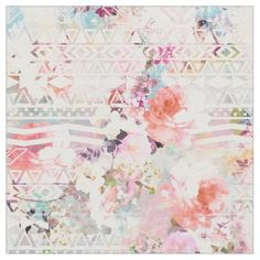 Aztec Pink Teal Watercolor Chic Floral Pattern Fabric - click to get yours right now!
